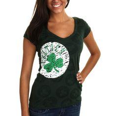 Boston Celtics Women's Burnout V-Neck T-Shirt - Kelly Green