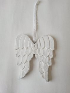 Angel wings, wooden angel wings, angel wings ornament, shabby chic, wood angel wings, white wings, white angel wings, wings, clarashandmade by clarashandmade on Etsy