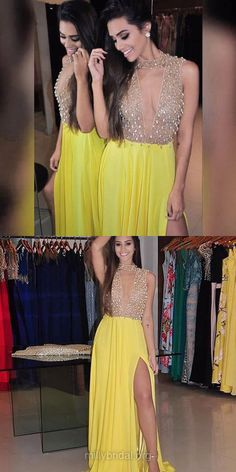 Yellow Prom Dresses, Long Prom Dresses, 2018 Prom Dresses For Teens, A-line Prom Dresses High Neck, Chiffon Tulle Prom Dresses Beading
