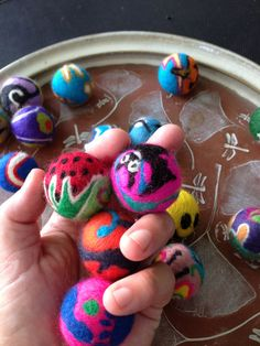 10 Play Balls for Cats One of a Kind - Freehand Whimsical Design Cool Color Paw Ball Style, Handmade Merino Wool Balls 35 mm