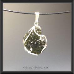 Raw Moldavite pendant by SilverAndMoldavite on Etsy