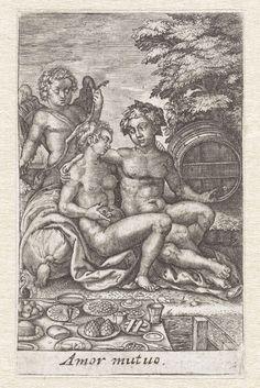Johannes Wierix | Profane liefde, Johannes Wierix, 1600 | Venus wordt omarmd door Bacchus, achter hen staat Amor. Bacchus wijst op een wijnvat, Venus op een rijk gedekte tafel.
