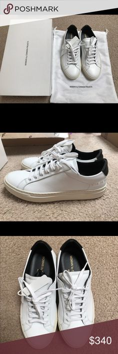 White calf leather Achille Retro sneakers White calf leather Achille Retro sneakers from Common Projects. Brand new never worn. Super cute and look good with jeans, skirt, or dress.  Outer Composition: Calf Leather 100% Lining Composition: Leather 100% Sole Composition: rubber 100% Common Projects Shoes Sneakers