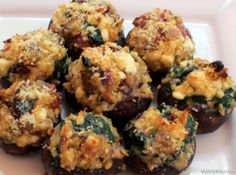 Stuffed Mushrooms are a delicious and healthy side option with a healthy dinner. #stuffedmushrooms #mushrooms #healthy #recipe