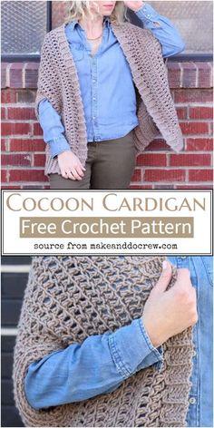 50 Best Crochet Cardigan Patterns (Design & Ideas) For 2021 Crochet Jacket Pattern, Crochet Patterns, Cocoon Cardigan, Types Of Dresses, Free Crochet, Pattern Design, Jackets, Zumba Routines, Design Ideas