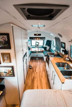 Photo 13 of 15 in A Photographer Couple's Airstream Renovation Lets Them Take Their Business on the Road - Dwell Airstream Campers, Airstream Remodel, Airstream Interior, Trailer Interior, Vintage Airstream, Camper Renovation, Trailer Remodel, Vintage Travel Trailers, Remodeled Campers