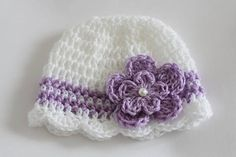 Items similar to Crochet Baby Hat Beanie Newborn Months Crochet Baby Girl Hat White Lavender with Flower and Pearl on Etsy Crochet Baby Hat Patterns, Baby Girl Crochet, Newborn Crochet, Crochet Baby Hats, Baby Blanket Crochet, Free Crochet, Baby Beanie Hats, Baby Girl Hats, Girl With Hat
