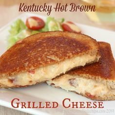 The Bluegrass State classic open face turkey, bacon and tomato sandwich is transformed into a cheesier version in this Kentucky Hot Brown Grilled Cheese.