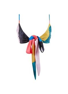 Mara Hoffman Mila bikinitop met colour blocking en striksluiting