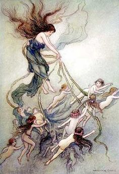 """""""The Water Babies: A Fairy Tale for a Land-Baby"""" illustration by Warwick Goble. Fairy Land, Fairy Tales, Warwick Goble, Indian Theme, Merian, Vintage Fairies, Fairytale Art, Children's Book Illustration, Book Illustrations"""