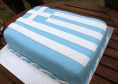 Greek Flag Cake Greek Sweets, Greek Desserts, Greek Recipes, Greek Cake, Eat Greek, Cake Decorating Designs, Cake Designs, Multicultural Activities, Greek Flag