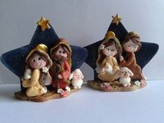 salt and flour clay nativity Nativity Ornaments, Nativity Crafts, Painted Ornaments, Christmas Nativity, Christmas Humor, Christmas Ornaments, Polymer Clay Figures, Polymer Clay Charms, Polymer Clay Christmas