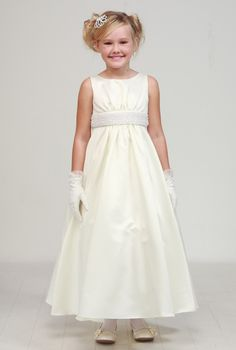 d15a868142 Satin and Pearl Communion Flower Girl Dress. Discount Bridesmaid  DressesJunior ...