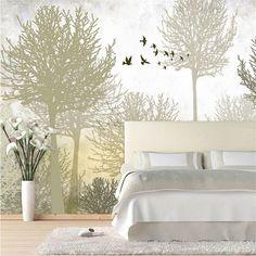 Photo papier peint de haute qualité tissu de soie papier peint / salon canapé lit mural TV rétro minimaliste bois grande murale papier peint