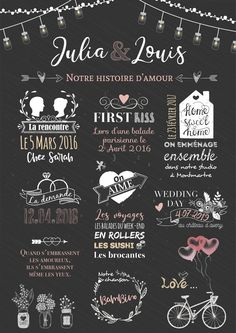 Wedding Chalkboard: Displays our personalized love story for a souvenir of your couple to display at your wedding - Site Today Anniversary Decorations, Anniversary Parties, Ceremony Decorations, Wedding Anniversary, Wedding Ceremony, Wedding Day, Table Wedding, Wedding Party Invites, Party Invitations