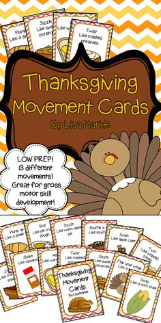 These Thanksgiving themed movement cards will keep your students active while they're excited to eat for Thanksgiving! Keep those excited little ones busy around the holidays and when it's too cold to go outside! All while teaching them about different actions and improving their gross motor skills! Print and cut these out, laminate them and keep them all together on a metal ring. Put on some music and let your kids dance!