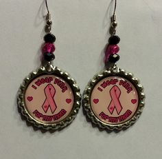 Breast Cancer Bottle Cap Earrings by SimpleFunCreations on Etsy, $10.00