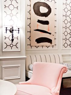 Hollywood Regency style pink and black living room with decorative wall panels lined with Phillip Jeffries Union Square Wallpaper in Black on White Manila Hemp paired with chair rail and wainscoting. Pink Velvet Chair, Living Room New York, Living Rooms, Eclectic Living Room, Of Wallpaper, Wallpaper Panels, Geometric Wallpaper, Hollywood Regency, Interiores Design