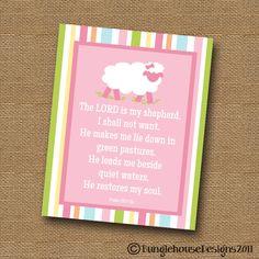 "Nursery/Children's Art PRINTABLE DIY ""Psalm 23"" Little Girl Lamb Scripture Bible Verse Poster. $12.00, via Etsy."