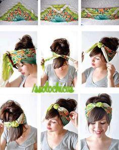 trendy Ideas for how to wear a bandana in your hair tutorial bangs Turban Headbands, Diy Headband, Headbands For Short Hair, Hairband Hairstyle, Knotted Headband, Headband Tutorial, Scarf Tutorial, Curly Hair Styles, Natural Hair Styles