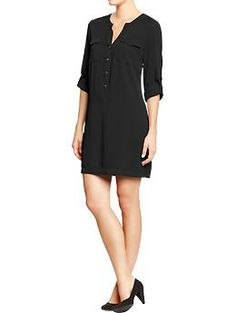 Women's Tab-Collar Tunic Dresses | Old Navy