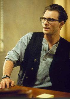 Still of Christian Slater in Interview with the Vampire.  Every guy should own black frame glasses.  haha