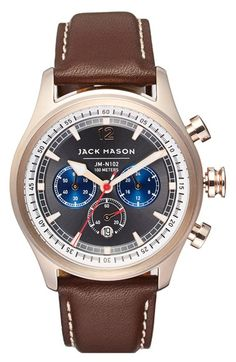 Jack Mason Brand Nautical Chronograph Leather Strap Watch, 42mm
