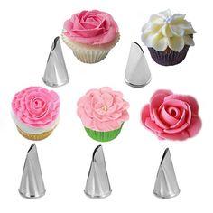 5Pcs/Set Rose Petal Metal Cream Tips Cake Decorating Tools
