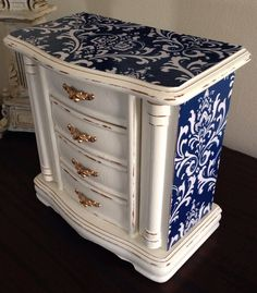 Vintage Wood Jewelry Box Hand Painted And Decoupaged Blue And White Damask