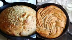 EASY CAST IRON BREAD Most of these 15 cast iron skillet bread recipes require no kneading, which means they're even easier to whip up at home. Iron Skillet Recipes, Cast Iron Recipes, Cast Iron Skillet, Cast Iron Cooking, Best Bread Recipe, Bread Recipes, Baking Recipes, Milk Recipes, Pizza Recipes