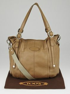 1aa261f38fe Tod's Beige Leather G Easy Sacca Media Tote Bag Midlife Crisis, Medium  Tote, Leather