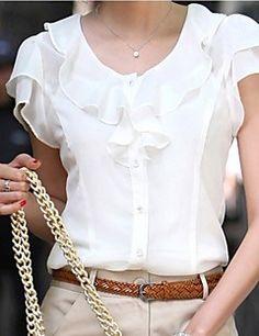 Dames+Eenvoudig+Zomer+Overhemd,Casual/Dagelijks+Effen+Ronde+hals+Korte+mouw+Rayon+–+EUR+€+7.83
