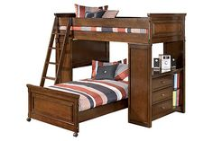 """The Portsquire Youth Loft Bed from Ashley Furniture HomeStore (AFHS.com). With a deep burnished brown finish flowing smoothly over rich frame detailing, the warm rustic beauty of the """"Portsquire"""" youth bedroom collection creates an inviting atmosphere that is perfect to enhance the décor of any kids bedroom."""