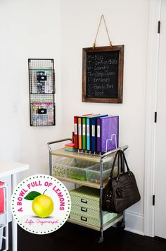 Oooo, i REALLY like this idea!!! Utilize a rolling cart for the ultimate in a portable office. Via A Bowl Full of Lemons