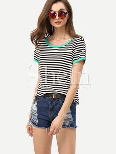 Shop Black White Striped Short Sleeve T-shirt online. SheIn offers Black White Striped Short Sleeve T-shirt & more to fit your fashionable needs.