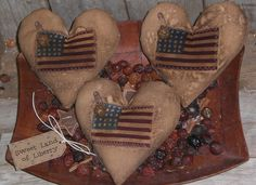 3 Grungy Primitive Americana Heart USA July 4 Flag Bowl Fillers Ornies Ornaments