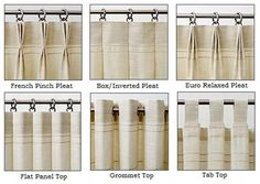 DrawnCompany (etsy) Drapery Heading Styles for Custom Panels: custom made drapery panels can be made with a variety of drapery heading styles. Pinch Pleat - 3 and 2 fold Relaxed Pleat Flat/Plain Top Natural Pleat Grommet Rod Pocket 2-3 inches. We can make panels up to 2 ½ widths and include banding, trims and color blocked fabrics or other specialty design options for an upcharge.($229.00) workroom quality