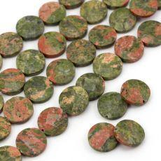 Fasetowane monetki naturalnego unakitu w kolorze oliwkowo-rdzawym. Mineral Stone, Wire Wrapping, Minerals, Jewlery, Stones, Jewels, Rocks, Jewerly, Stone