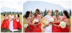 banff wedding photographer, red asian wedding dress, white lace dress, bride with bridesmaids photos, bridal party photos, asian themed wedding, www.kimpayantphotography.com Asian Wedding Dress, Wedding Dresses, Emerald Lake, Party Photos, Banff, Rocky Mountains, White Lace, Bridesmaids, Lace Dress