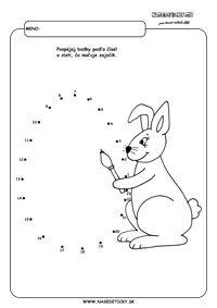Spájame bodky. Zajačik s vajíčkom.