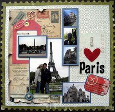 Romantic Paris scrapbook layout.
