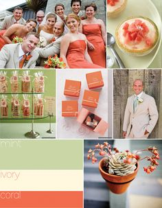 #Wedding Colours... 3 main colours:- Moonstone, white, mint green + 2 accent colours:- coral & ivory ... More wedding ideas for brides & bridesmaids, grooms & groomsmen, parents & planners ... https://itunes.apple.com/us/app/the-gold-wedding-planner/id498112599?ls=1=8 … plus how to organise an entire wedding, without overspending ♥ The Gold Wedding Planner iPhone App ♥