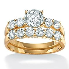 2.50 carat Cubic Zirconia 18k Yellow Gold over Sterling Silver Wedding Band Set, Size 10,5,6,7,8,9, Size 10,5,6,7,8,9