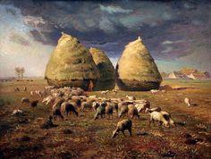 Jean-François Millet Paintings | Jean-François Millet: Haystacks: Autumn , ca.1874