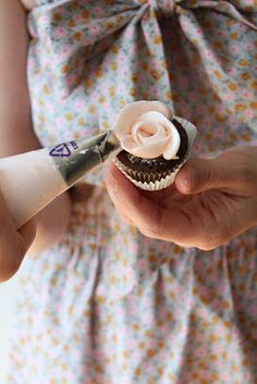 Not that I ever do cupcakes, but this is a cute idea, just pipe a buttercream rose straight onto a mini cupcake