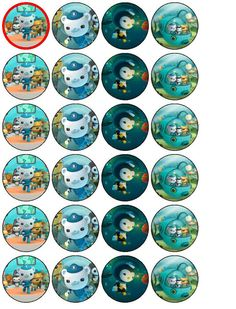 24 Octonauts Cupcake Toppers