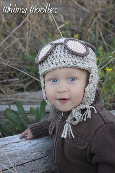 Crochet Pattern: 'Alistair the Aviator' Aviator Hat with Goggles, Boys crochet