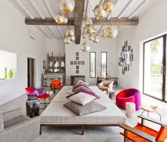 comfortable and colorful place to lounge with the family