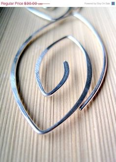 Silver Spiral Hoops  MARQUISE handmade contemporary by maryandjane, $30.00