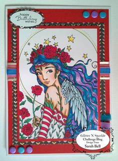 By Sarah Bell DT for Glitter 'N' Sparkle Ribbon or Lace Challenge